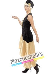 Costume Donna Charleston nero e oro Anni '20 gatsby girl