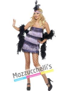 Costume Donna Charleston nero e viola Anni '20 gatsby girl