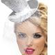 cerchietto con mini cappello argento con velo carnevale halloween e altre feste a tema - Mazzucchellis