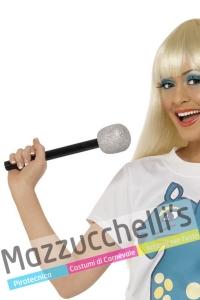 Microfono con Glitter cantante vip personaggi famosi anni '60 '70 '80 '90 - Mazzucchellis