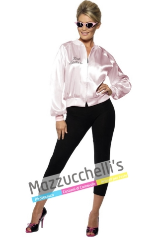costume film GREASE con la scritta PINK LADIES anni '50 di Grease - Mazzucchellis