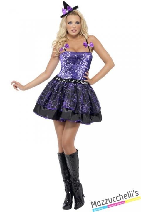 costume sexy strega nero e viola halloween , carnevale o altre feste a tema - Mazzucchellis