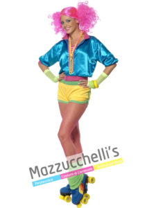 Costume Donna Skater Girl anni '80 Fluo