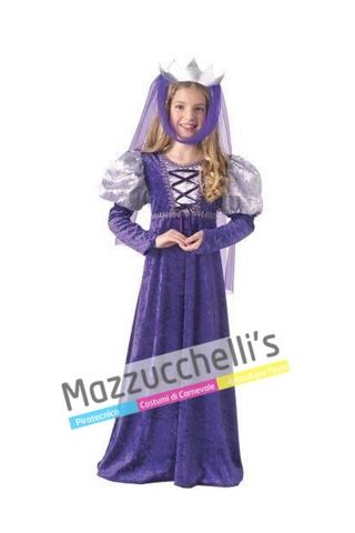Costume bambina ragazza medievale viola- Mazzucchellis