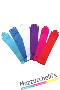 GUANTI IN RASO ELASTICIZZATI 43 cm - ass. in 6 colori rosso, rosa,viola, bianco, azzurro, blu - Mazzucchellis