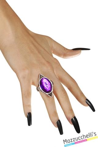 anello gotico gemma viola strega vampira halloween carnevale o altre feste a tema - Mazzucchellis..
