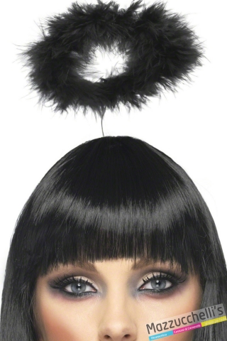 cerchietto aureola nera adulto o bambino angelo nero halloween carnevale feste a tema - Mazzucchellis