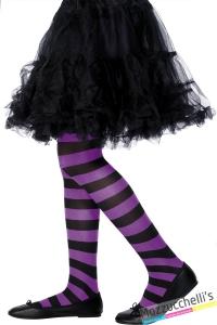 collant CALZE BAMBINA strega VIOLA E NERO carnevale halloween e altre feste a tema - Mazzucchellis