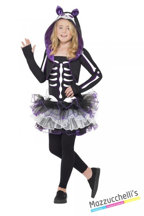 costume scheletro bambina carnevale halloween o altre feste a tema - Mazzucchellis