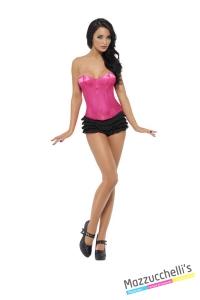 COSTUME bustino burlesque rosa donna CARNEVALE HALLOWEEN O ALTRE FESTE A TEMA - Mazzucchellis