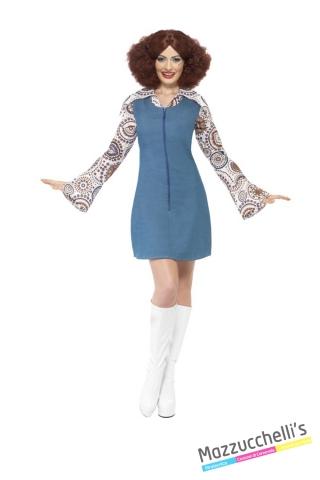 COSTUME donna sexy hippie figlia dei fiori ani '60 '70 CARNEVALE HALLOWEEN O ALTRE FESTE A TEMA - Mazzucchellis