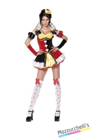 COSTUME donna sexy regina di cuori del film o cartone alice nel paese delle meraviglie CARNEVALE HALLOWEEN O ALTRE FESTE A TEMA - Mazzucchellis