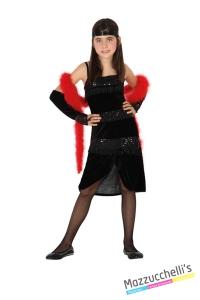 costume bambina charleston nero anni '20 carnevale halloween o altre feste a tema - Mazzucch
