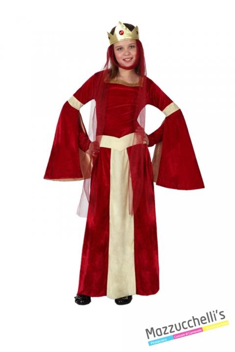 costume bambina dama medievale rossa carnevale halloween o altre feste a tema - Mazzucchellis