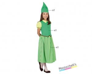 costume bambina folletto verde carnevale halloween o altre feste a tema - Mazzucchellis