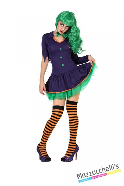 costume clown paggliaccio donna horror zombie carnevale halloween o altre feste a tema - Mazzucchellis