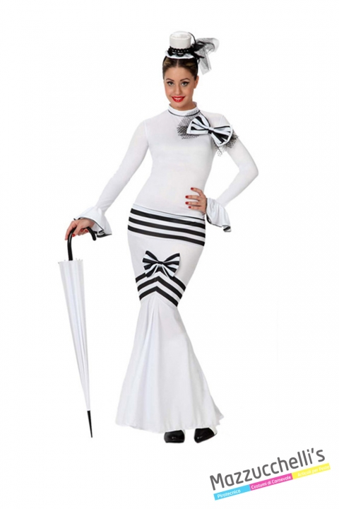 costume dama inglese mary poppins carnevale halloween o altre feste a tema - Mazzucchellis
