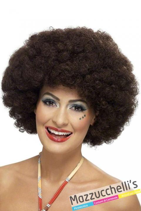 parrucca afro marrone anni 60 70 hippie popoli del mondo - Mazzucchellis