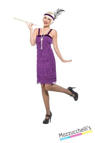 COSTUME donna charleston anni '20 viola curvy CARNEVALE HALLOWEEN O ALTRE FESTE A TEMA - Mazzucchellis