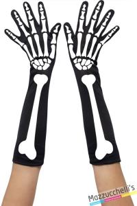 GUANTI LUNGHI con ossa DA SCHELETRO carnevale halloween o altre feste a tema - Mazzucchellis