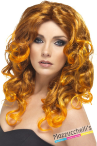PARRUCCA GLAMOUR RAME e arancione lunga mossa - Mazzucchellis