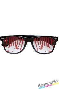 Occhiali con il sangue finto zombie halloween carnevale o altre feste a tema - Mazzucchellis