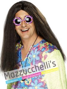 Parrucca castana Hippie anni '60-70 carnevale halloween e altre feste a tema