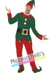 Costume Adulto Uomo Elfo Di Babbo Natale