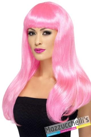 parrucca-rosa-lunga-con-frangetta---Mazzucchellis