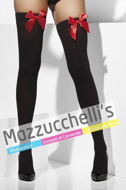 Autoreggenti Nere Con Fiocco Rosso - Mazzucchellis