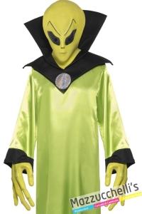 kit alieno verde maschera e guanti carnevale halloween - Mazzucchellis