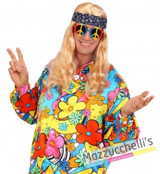 Occhiali Peace & Love hippie anni '60-'70 carnevale halloween feste a tema
