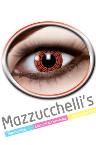 LENTI a contatto rosse con la ragnatela nera RED SPIDER 12 MESI carnevale halloween e altre feste a tema - Mazzucchellis