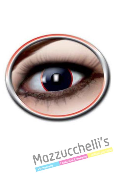 lenti a contatto neri con cerchio rossi carnevale, halloween e altre feste a tema- Mazzucchellis