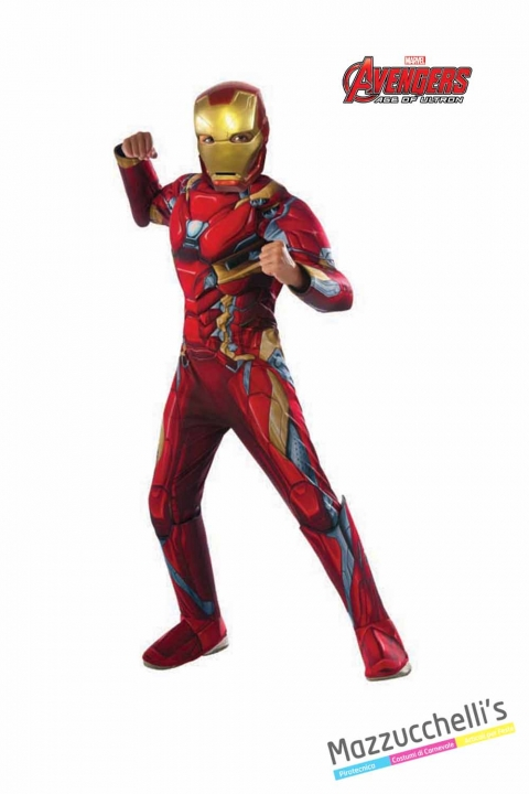 COSTUME bambino muscoloso iron man supereroe forte ufficiale avengers marvel CARNEVALE HALLOWEEN O ALTRE FESTE A TEMA - Mazzucchellis