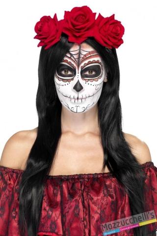 CERCHIETTO CON ROSE ROSSE il giorno della morte day of the headband carnevale halloween o altre feste a tema - Mazzucchellis