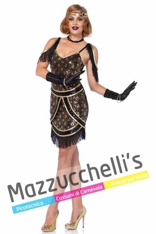 Costume Donna Sexy Ballerina Charleston Nero e Oro Anni 20