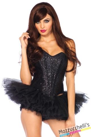 bustino corsetto nero carnevale halloween o altre feste a tema - Mazzucchellis