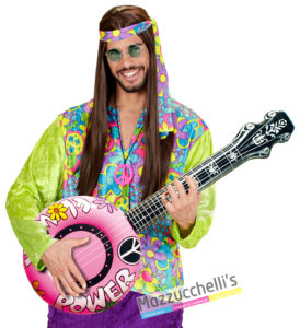 Banjo Gonfiabile Rosa hippie '70 peace and love carnevale halloween e altre feste a tema