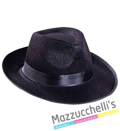 Cappello Nero Gangster - Mafioso Anni 20 Carnevale Halloween o altre feste a tema