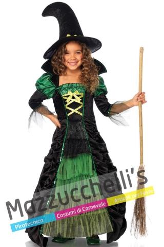 Costume Bambina Halloween Strega Verde