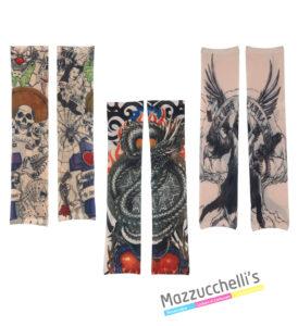 Maniche Tatuate DA ROCK O PUNK ANNI '80 '90 carnevale halloween o altre feste a tema