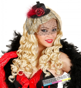 Mini Cilindro Nero Con Velo Carnevale, Halloween e altre feste a tema