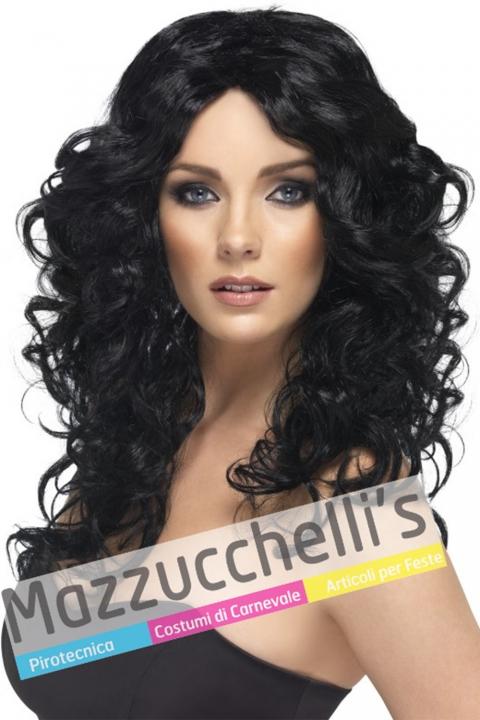 Parrucca Nera Lunga Mossa - Mazzucchellis