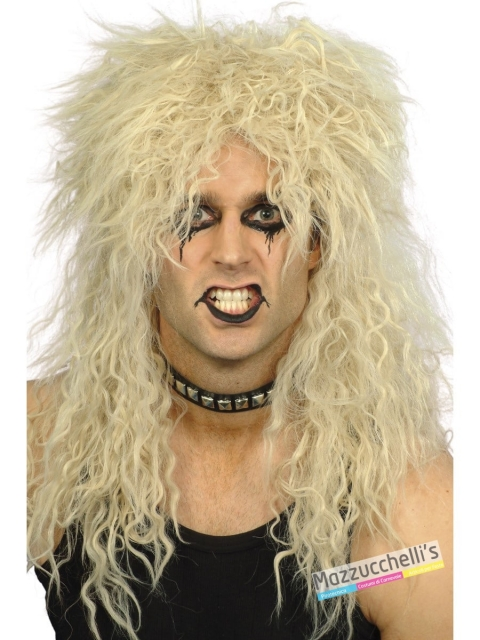 Parrucca Rock Bionda Mossa Anni '80-'90 carnevale halloween o altre feste a tema