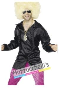 camicia nera anni '70 disco uomo - Mazzucchellis