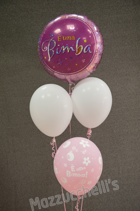 COMPOSIZIONE bouquet BABY SHOWER ROSA nascita rosa - Mazzucchellis