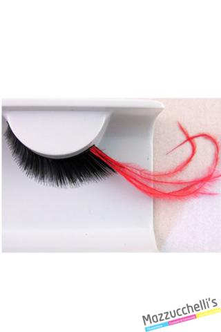 ciglia nere con piume lunghe rosse carnevale halloween e altre feste a tema - Mazzucchellis