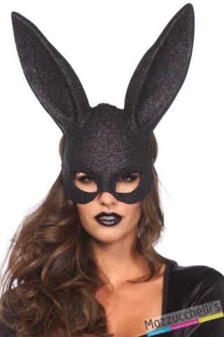 MASCHERA CONIGLIO NERO CON GLITTER carnevale halloween feste a tema- Mazzucchellis