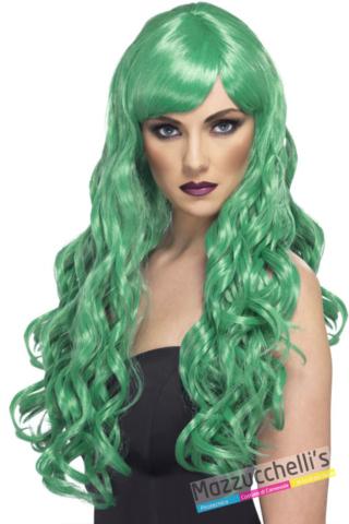 parrucca donna lunga verde mossa - Mazzucchellis